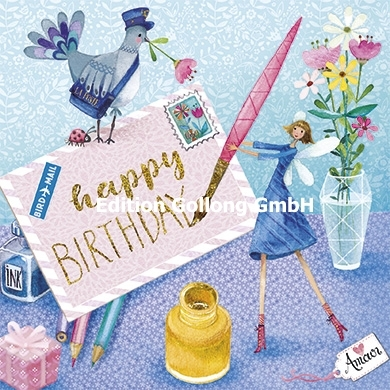 """Happy Birthday"" Quadratische Postkarte mit Fee & Brief"