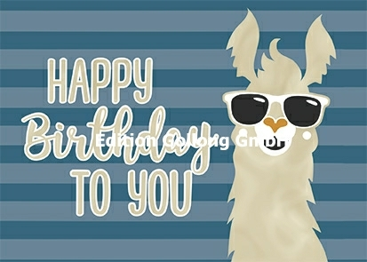 """Happy Birthday to you"" Postkarte mit Lama"